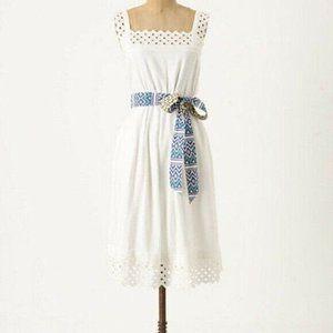 Maeve Canopy Outlook Dress White Linen & Eyelet XL
